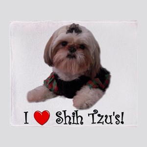 I Love Shih Tzu Throw Blanket