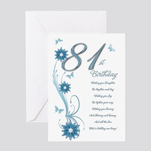 81st birthday in teal Greeting Card