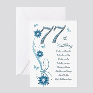 77th birthday in teal Greeting Card