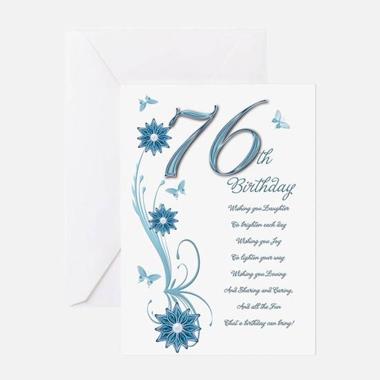 76th birthday in teal Greeting Card