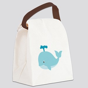 Blue Cartoon Whale Canvas Lunch Bag