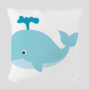 Blue Cartoon Whale Woven Throw Pillow