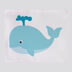 Blue Cartoon Whale Throw Blanket