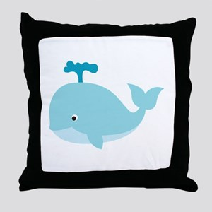 Blue Cartoon Whale Throw Pillow