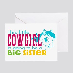 Little Cowgirl Big Sister Greeting Card