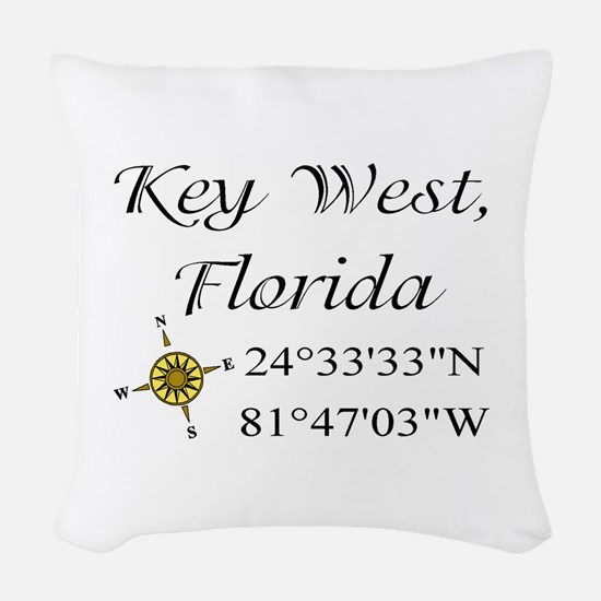 Key West Geocaching Woven Throw Pillow