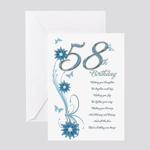 58th birthday in teal Greeting Card