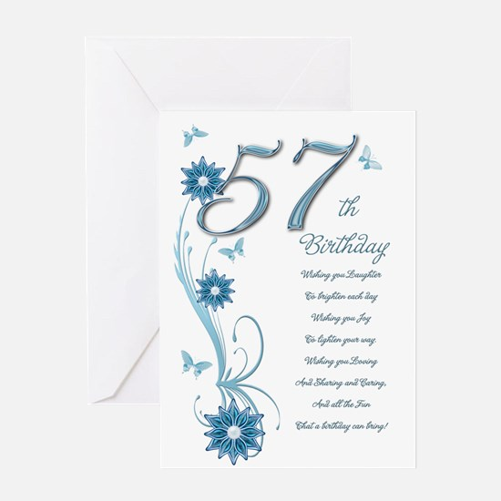 57th birthday in teal Greeting Card