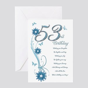 53rd birthday in teal Greeting Card