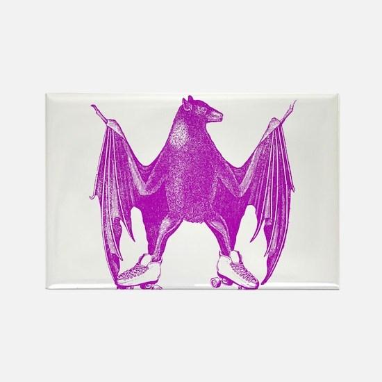 Derby Bat Fuchsia Rectangle Magnet