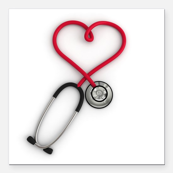 "Nurses Have Heart Square Car Magnet 3"" x 3"""