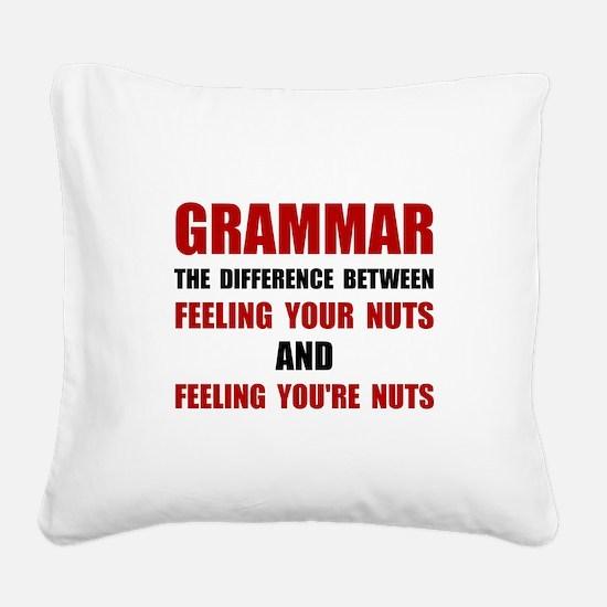 Grammar Nuts Square Canvas Pillow
