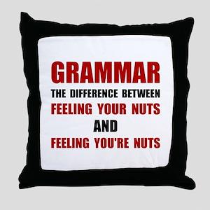 Grammar Nuts Throw Pillow