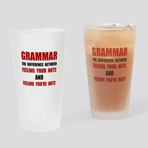 Grammar Nuts Drinking Glass