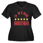 5 Star Brother Women's Plus Size V-Neck Dark T-Shi