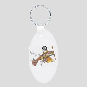 Hands Free Biplane Aluminum Oval Keychain