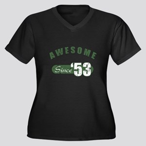 Awesome Since 1953 Women's Plus Size V-Neck Dark T