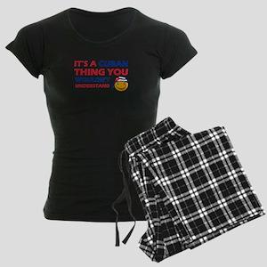 Cuban smiley designs Women's Dark Pajamas