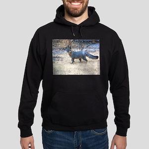 Gray Fox in Winter Hoodie