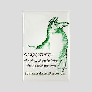 Llamatude Green Rectangle Magnet