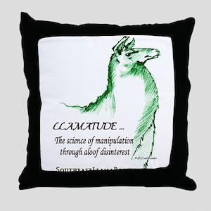 Llamatude Green Throw Pillow