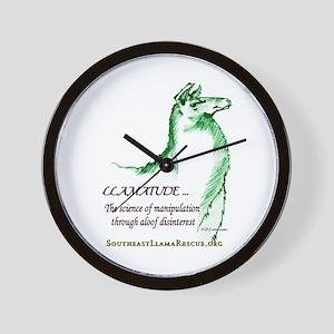 Llamatude Green Wall Clock
