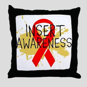 Red Ribbon Awareness Throw Pillow
