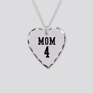 Mom of 4 Necklace Heart Charm