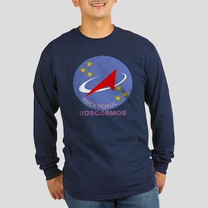 Roscosmos Blue Logo Long Sleeve Dark T-Shirt
