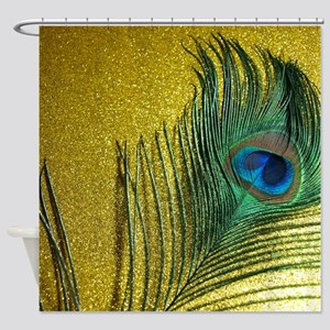 Glittery Gold Peacock Shower Curtain