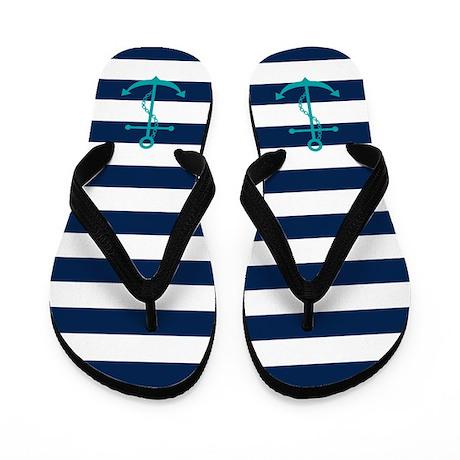 Teal Anchors on Blue Stripes Flip Flops