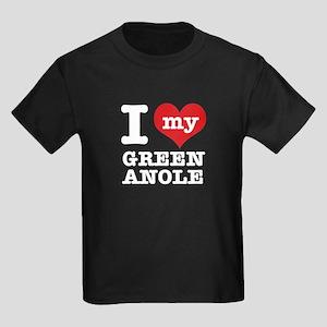 I heart Green Anole designs Kids Dark T-Shirt