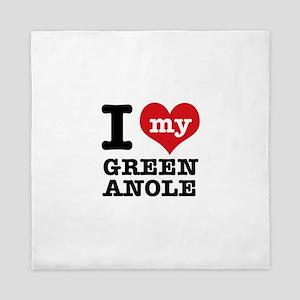 I heart Green Anole designs Queen Duvet