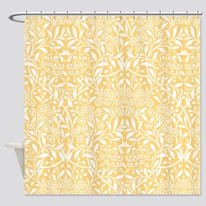 Yellow Floral Damask Shower Curtain
