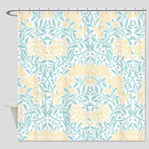 Aqua and Yellow Floral Damask Shower Curtain