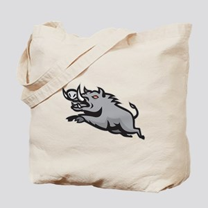 Wild Pig Boar Jumping Isolated Tote Bag
