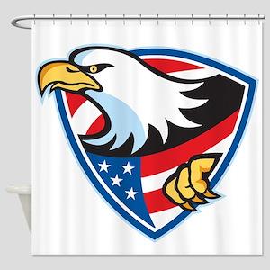 American Bald Eagle Flag Shield Shower Curtain