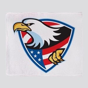 American Bald Eagle Flag Shield Throw Blanket