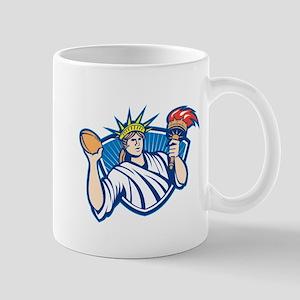 Statue of Liberty Throwing Football Ball Mug