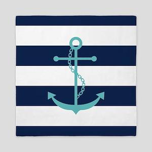 Teal Anchor on Blue Stripes Queen Duvet
