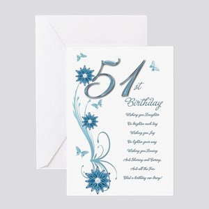 51st Birthday In Teal Greeting Card
