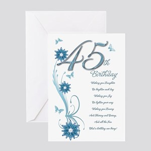 45th birthday in teal Greeting Card