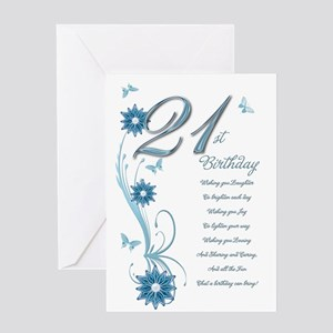 21st birthday in teal Greeting Card