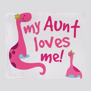 My Aunt Loves Me Dinosaur Throw Blanket