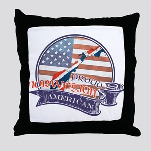 Proud Norwegian American Throw Pillow