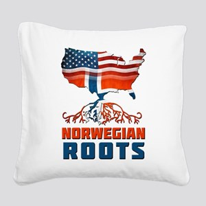 American Norwegian Roots Square Canvas Pillow