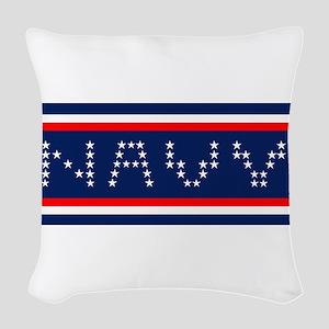 NAVY HORIZ Woven Throw Pillow