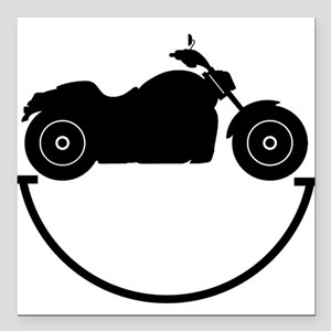"Happy Biker Square Car Magnet 3"" x 3"""