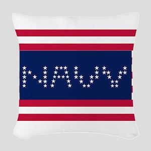 NAVY 3 Woven Throw Pillow