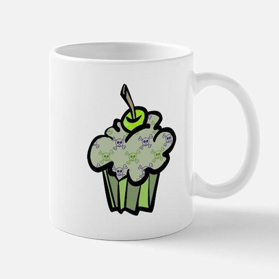 Green Punk Skull Crossbones Cupcake Mug